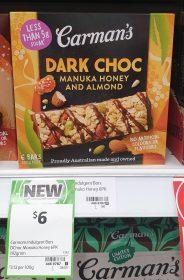 Carmans 192g Bars Dark Choc Manuka Honey And Almond