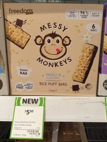 Freedom Foods 120g Messy Monkeys Rice Puff Bars Vanilla Flavoured
