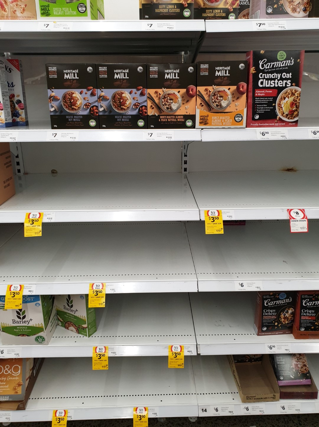 Coronavirus COVID 19 Panic Buy Coles Supermarket Melbourne Cereal Heritage Mill 15th March 2020 1