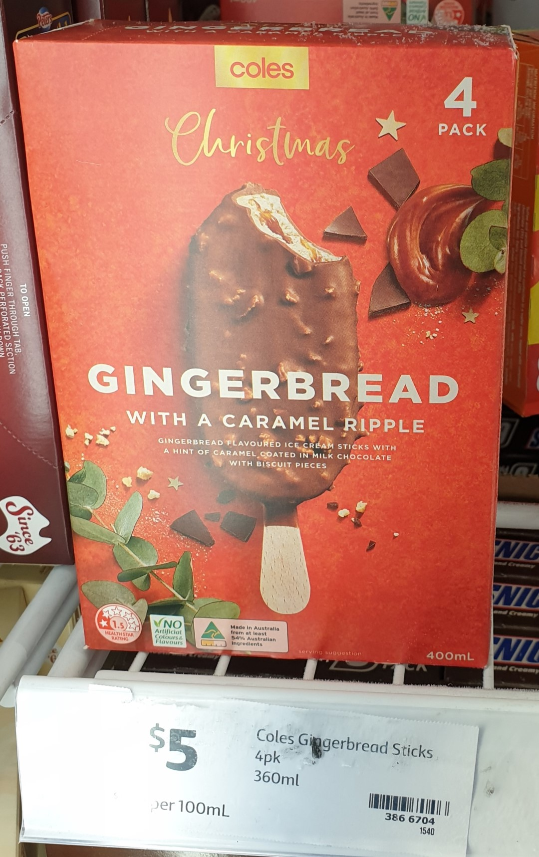 Coles 400mL Christmas Ice Cream Gingerbread With A Caramel Ripple