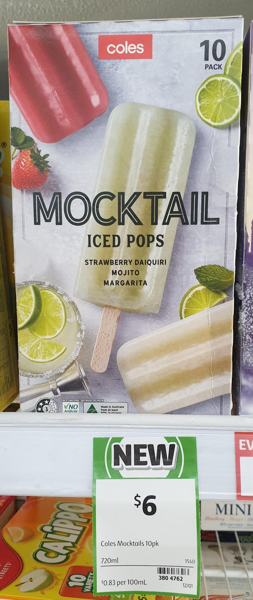 Coles 720mL Iced Pops Mocktail Strawberry Daiquiri Mojito Margarita